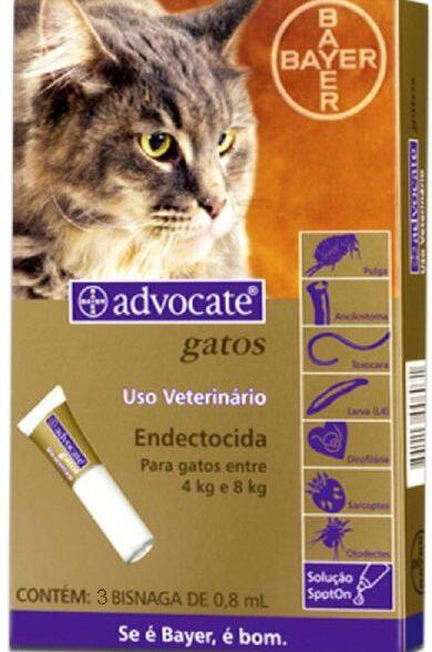 Advocate Gato Sol Uncao 0.8mlx3 4-8kg. 80/8 mg sol unção punctif VET