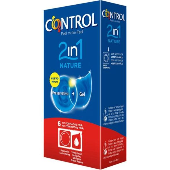 Control Nature 2 em 1 Preservativos + Gel x6