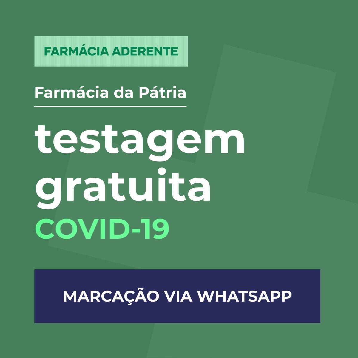 teste covid-19 gratuito - farmacia da patria